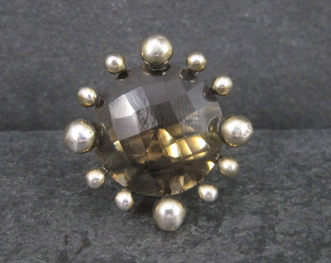 Vintage Atomic Starburst Smoky Topaz Ring Size 7