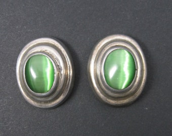 Vintage Mexican Sterling Green Catseye Earrings