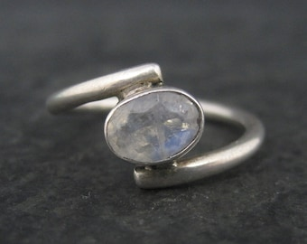 Vintage Sterling Faceted Rainbow Moonstone Ring Size 6.25