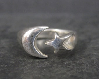 Vintage Sterling Crescent Moon Star Ring Size 6