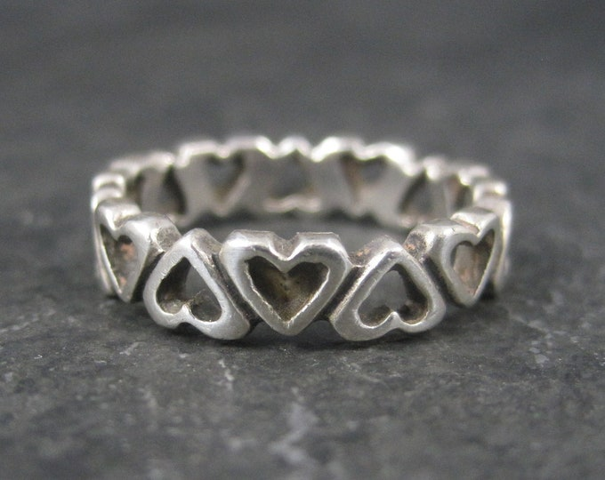 Vintage Sterling Heart Band Ring Size 6