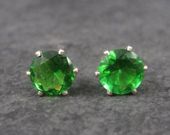 May Birthstone Emerald Sterling Stud Earrings 8mm