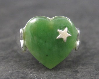 Vintage Sterling Jade Heart Ring Adjustable from Size 6 to 8