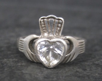 Vintage Sterling CZ Irish Claddagh Ring Size 6