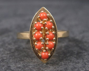 Vintage Coral Ring 14k Yellow Gold Size 6.25