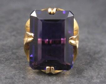 Vintage 14K 15 Carat Amethyst Ring Size 7