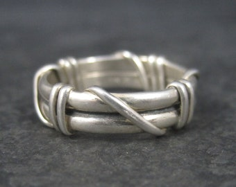 Vintage Sterling Wire Wrapped Band Ring Size 6.5