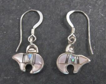 Vintage 90s Mother of Pearl Opal Bear Earrings
