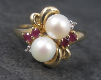 Vintage 10K Pearl Ruby Ring Size 7