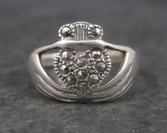 Vintage Sterling Marcasite Claddagh Ring Size 6.75