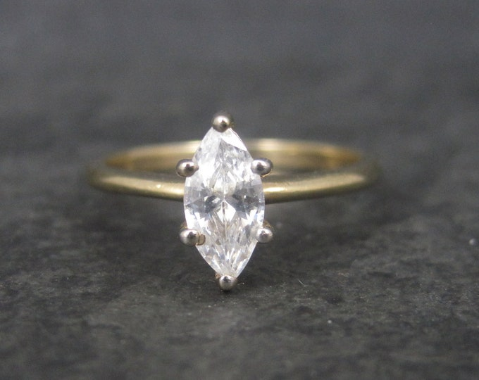 Vintage Gold Vermeil Over Sterling CZ Solitaire Engagement Ring Size 9