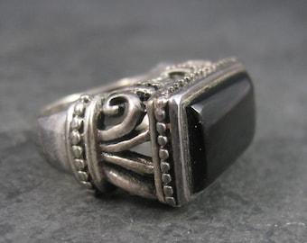 Gothic Vintage Sterling Onyx Filigree Ring Size 6