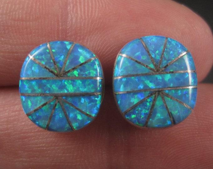 Vintage Southwestern Sterling Blue Opal Inlay Earrings