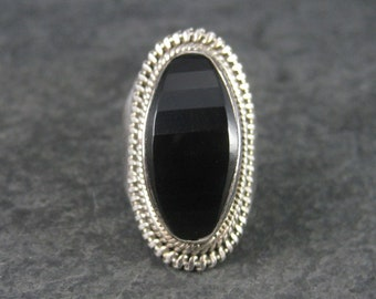 Vintage Sterling Faceted Onyx Dome Ring Size 8