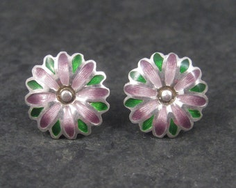Vintage 980 Sterling Purple Enamel Flower Earrings