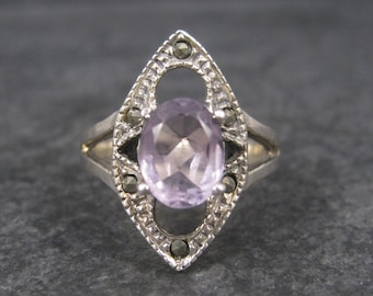 Vintage Sterling Amethyst Marcasite Ring Size 8