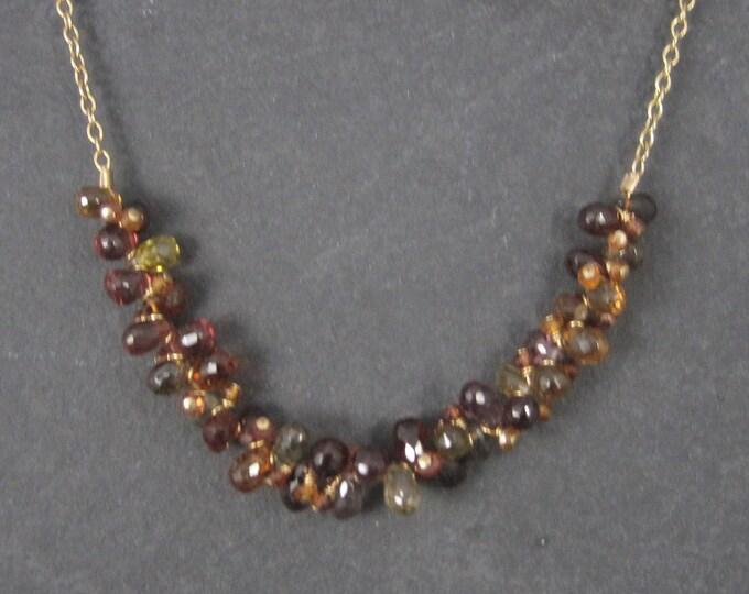 Vintage 14K Gold Filled Briolette Gemstone Necklace
