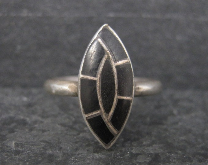 Vintage Southwestern Sterling Onyx Inlay Ring Size 6