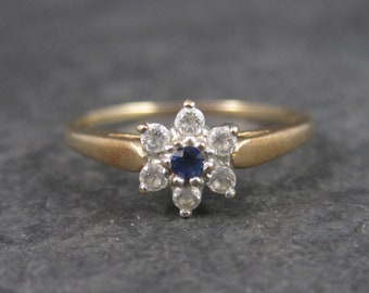 Dainty 10K Sapphire Halo Ring Size 6