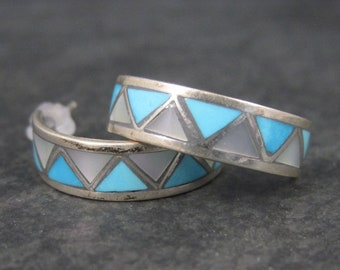 Vintage Southwestern Sterling Mother of Pearl Turquoise Inlay Hoop Earringsa