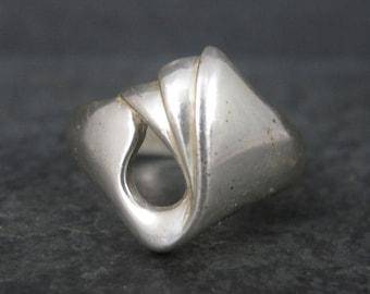 Vintage Modernist Sterling Tulip Ring Size 10