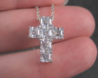 Small 90s Sterling Cz Cross Pendant Necklace