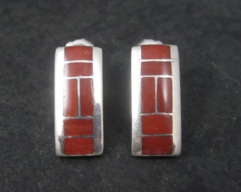 Vintage Southwestern Sterling Coral Inlay Earrings