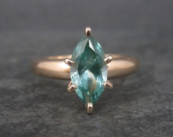 Vintage Rose Gold Vermeil Green Fluorite Solitaire Ring Size 9