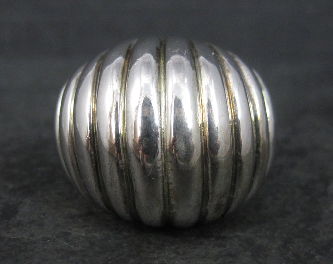 Large Vintage Italian Sterling Dome Ring Size 8