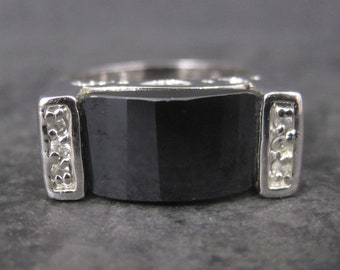 Vintage Sterling Faceted Onyx Celestial Ring Size 8