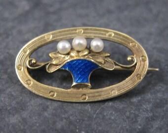 Small Antique 14K Pearl Enamel Flower Basket Brooch