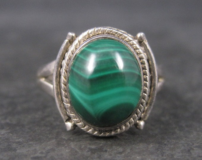 Vintage Sterling Malachite Ring Size 8
