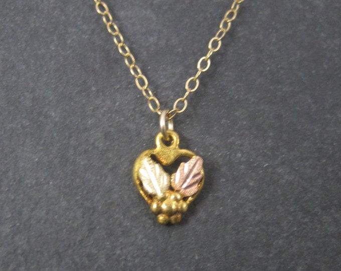 Tiny Vintage 10K Black Hills Gold Heart Pendant Necklace