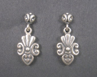 Vintage Sterling Victorian Style Heart Earrings