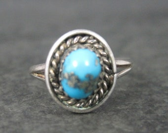 Dainty Southwestern Sterling Turquoise Ring Size 6