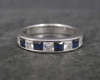 Vintage Sterling CZ Sapphire Band Ring Size 9