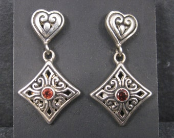 Vintage Sterling Garnet Heart Earrings