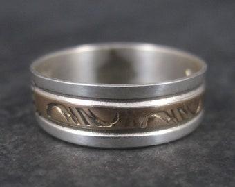 Vintage Southwestern 12K Gold Filled Sterling Band Ring Size 8.5