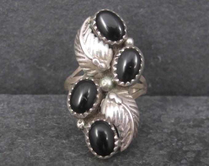 Vintage Southwestern Sterling Onyx Ring Size 6