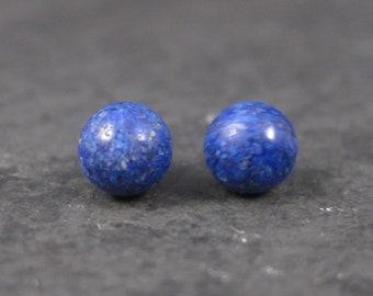 Vintage Sterling 6mm Lapis Lazuli Stud Earrings