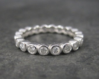 Vintage Sterling Cz Eternity Band Ring Size 5