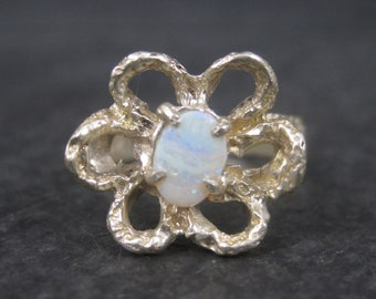 Vintage Sterling Opal Flower Ring Size 6