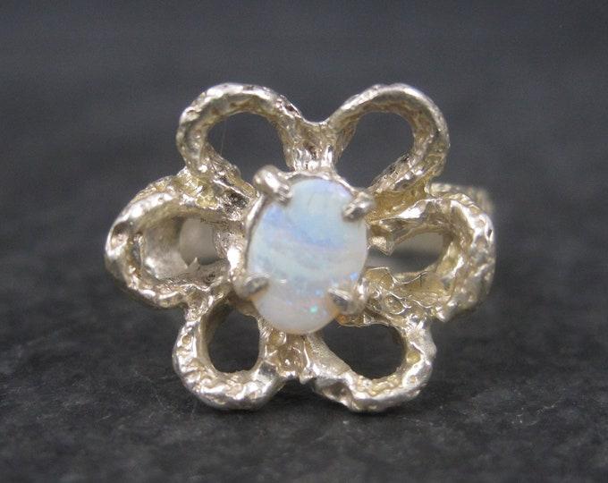 Vintage Sterling Opal Flower Ring Size 6