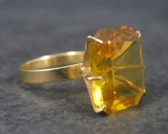 Vintage 14K High Set Yellow Orange Stone Cocktail Ring Size 6.75