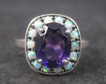 Vintage Sterling Amethyst Opal Halo Ring Size 10