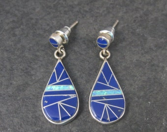 Vintage Southwestern Sterling Opal Lapis Inlay Earrings