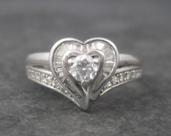 Vintage Sterling .37 Carat Diamond Heart Ring Size 7