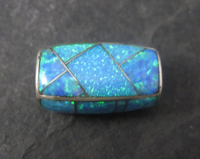 Large 90s Southwestern Opal Inlay Bead Pendant