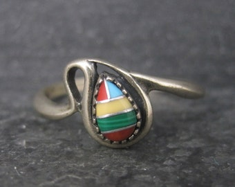 Dainty Vintage Sterling Southwestern Inlay Ring Size 9