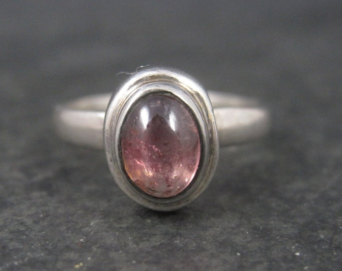 Simple Sterling Garnet Solitaire Ring Size 8.25